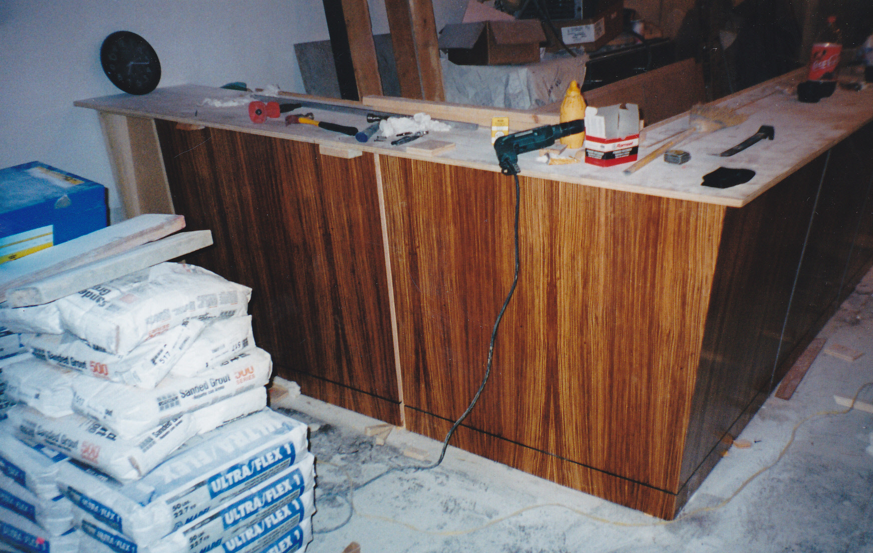Exotic veneered bar fabricated during installation