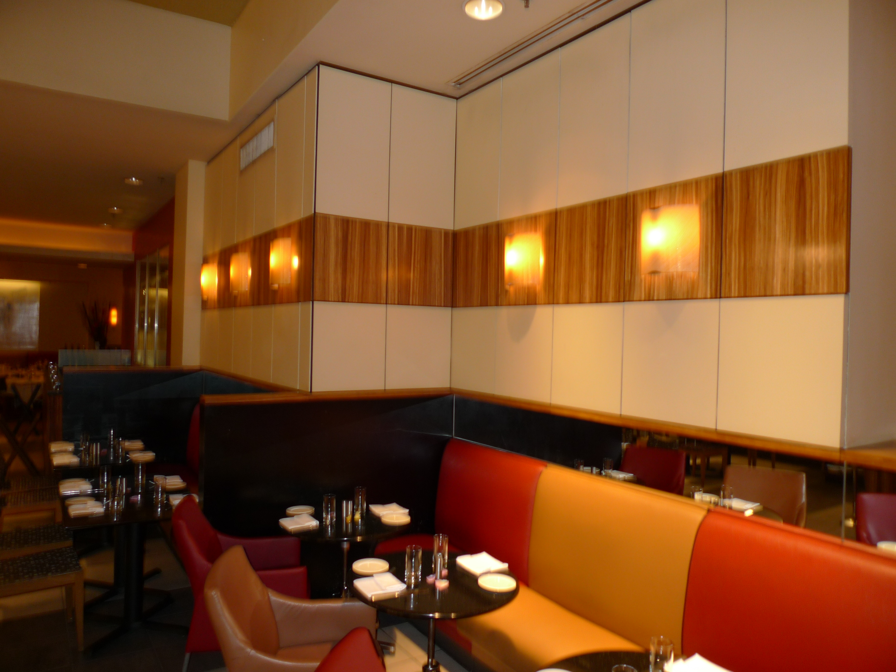 Completed Restaurant interior with Custom Seating and Wall Finishes, NYC
