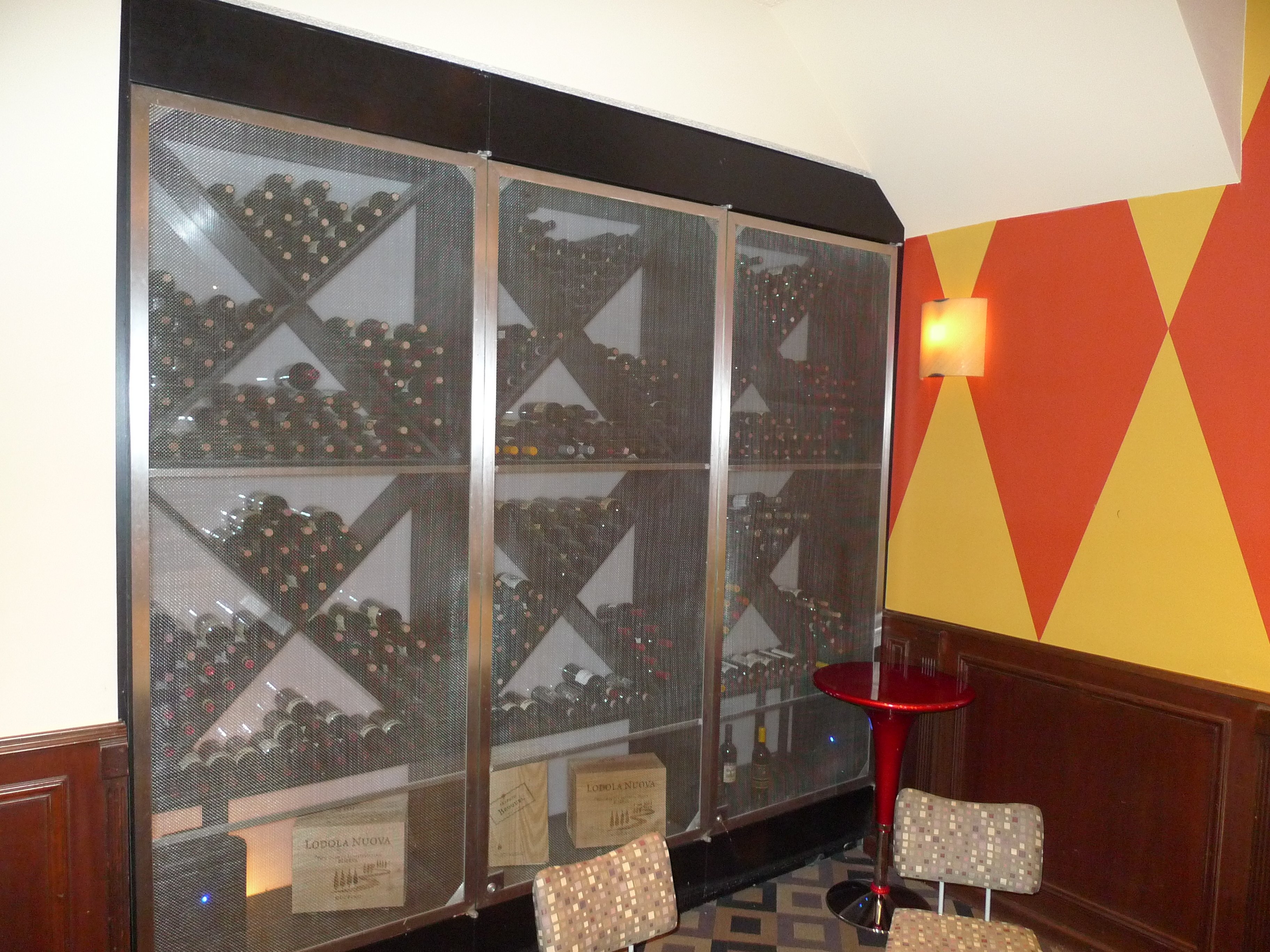 Wine Storage Rack with Stainless Steel Doors and Screens