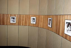 Installed curved zebrawood and painted wood wall, with solid painted wood panels above and below zebrawood.