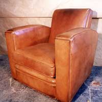 Recovering French Club Chair with Custom Dyed & Distresed cow hide