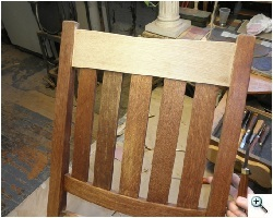 Stickley Bros. Arts & Crafts Rocker with Repaired Original Back, before refinishing
