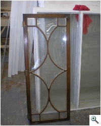 Antique Furniture Restoration Glass slumped in kiln to replicate antique glass from a breakfront