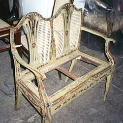 Antique Italian 18th Century Settee Chair Hand Re-caning