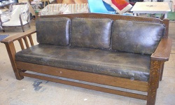 Arts & Crafts Period Stickley Sofa Recovering and Refinishing