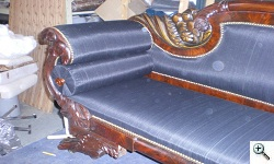 American Empire Sofa after extensive frame restoration and recovering in horsehair