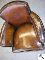 New Distressed Leather Art Deco Arm Chairs