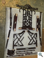 disassembled dowelled chair
