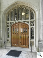 Gothic style doors with leaded glass