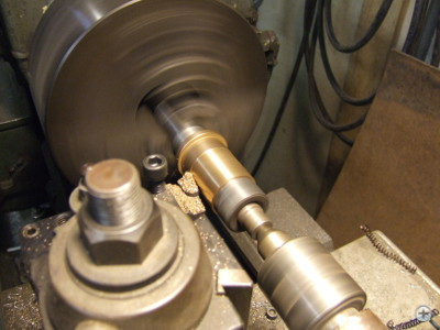 Swivel chair repaired by turning a new bronze bushing on a lathe