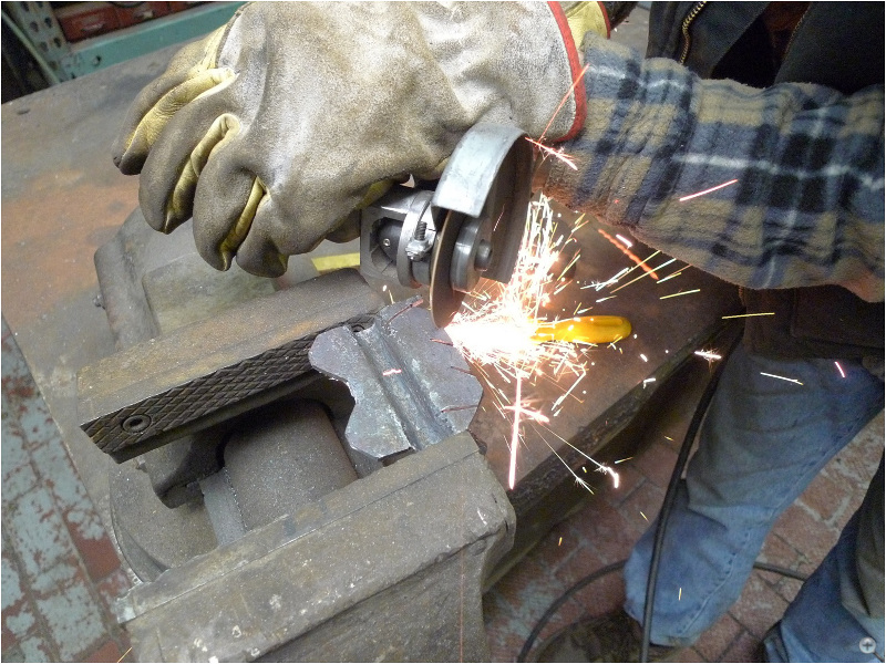 Cutting and grinding of the wrought iron