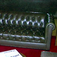 REUPHOLSTERY OF TUFTED LEATHER CHESTERFIELD SOFA