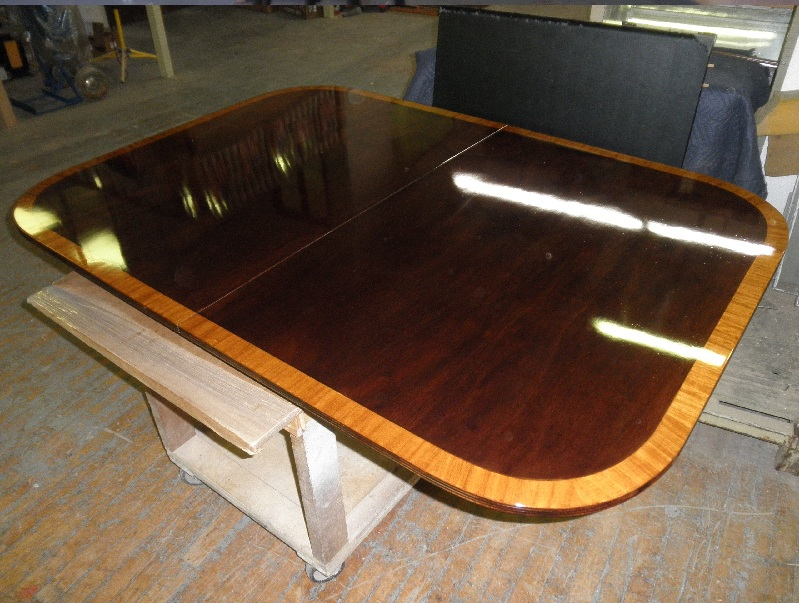 dining table refinished glossy closed pore