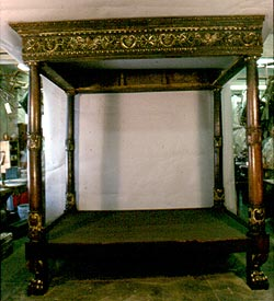 European Carved Four Poster 16th century Bed, after conservation