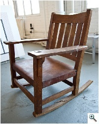 Stickley Arts & Crafts Rocker, with broken rocker and back before repair