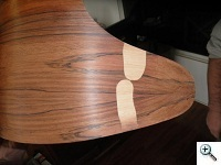 Highly bleached rosewood required use of lighter veneer
