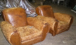French Art Deco Club Chairs before reupholstering
