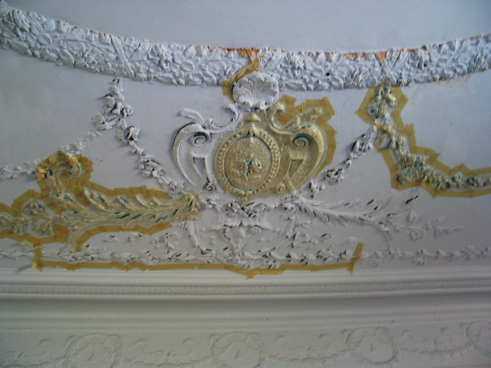 The restored ceiling is painted.