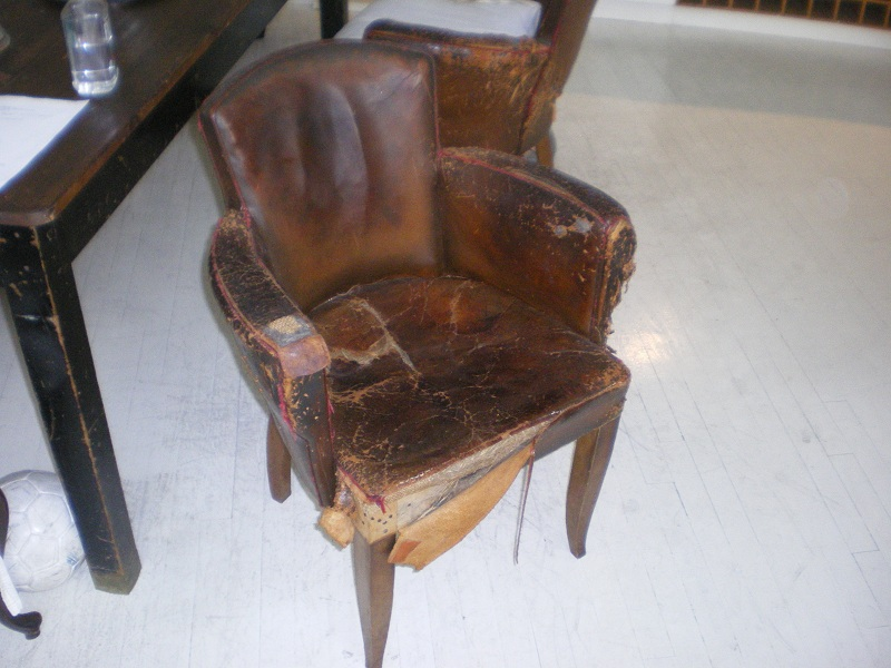 Art Deco Period Original Leather Distressed