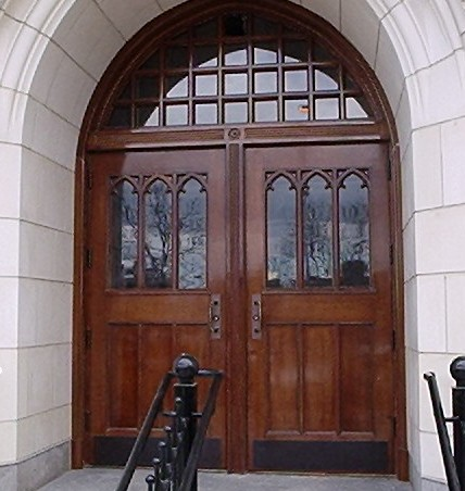 Seven years after installation- Entry door at City College's flagship building, Shepard Hall.