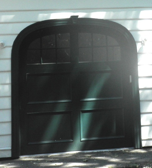 One Mahogany Overhead Garage Door of three, to work with modern overhead closer, but look like old carriage house door.