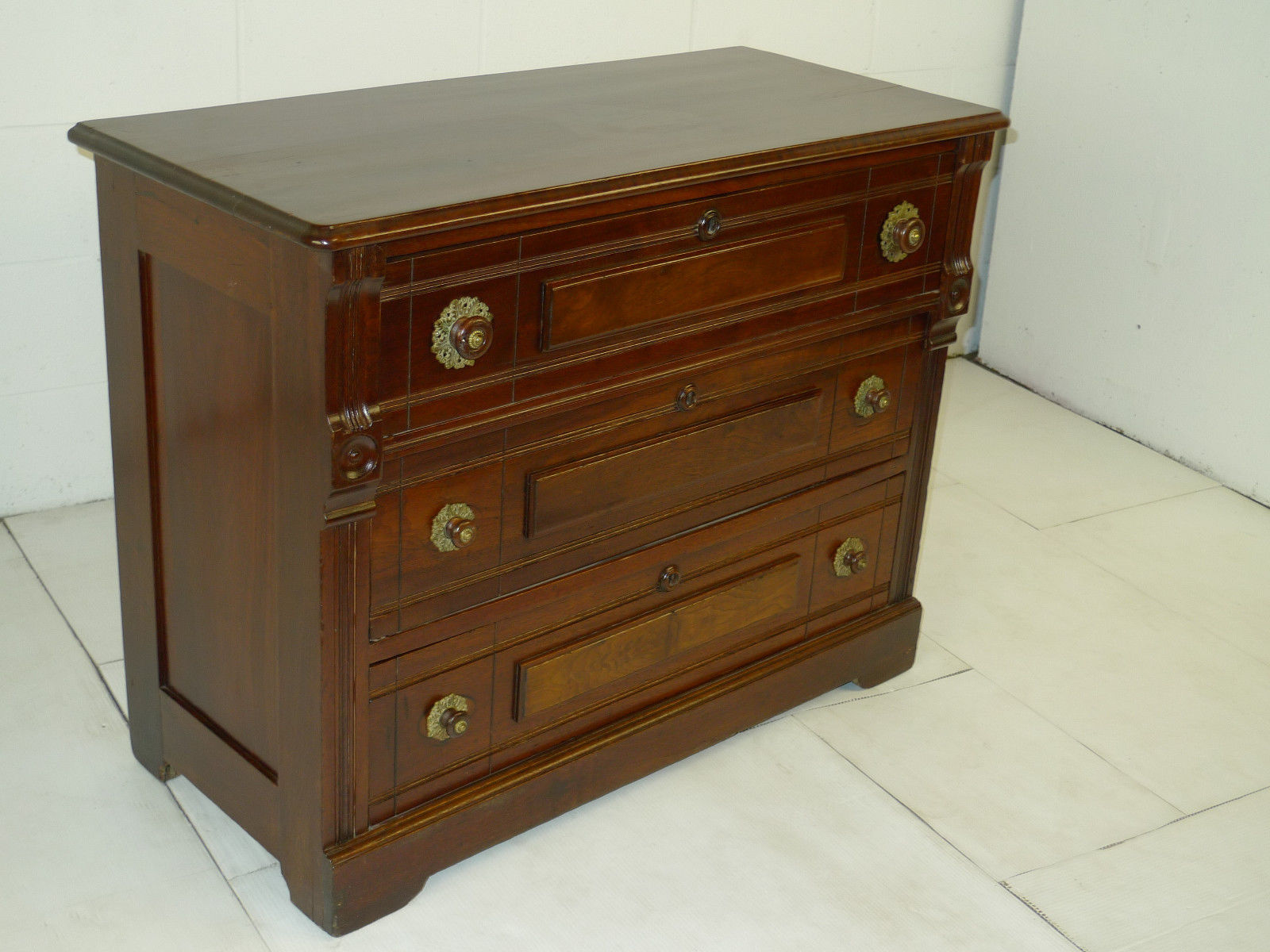 Victorian Eastlake Period Walnut Chest Of Drawers