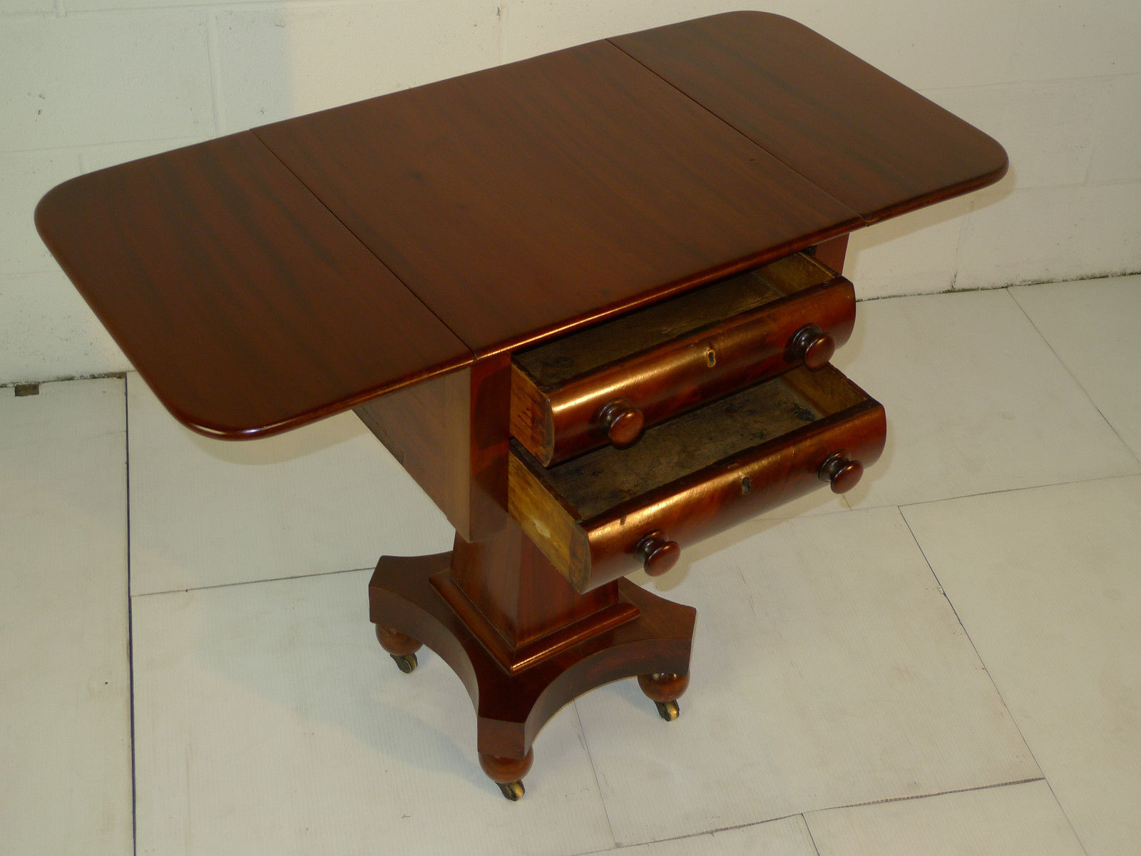 American Empire Per. Mahogany Neoclassical Drop Leaf Nightstand