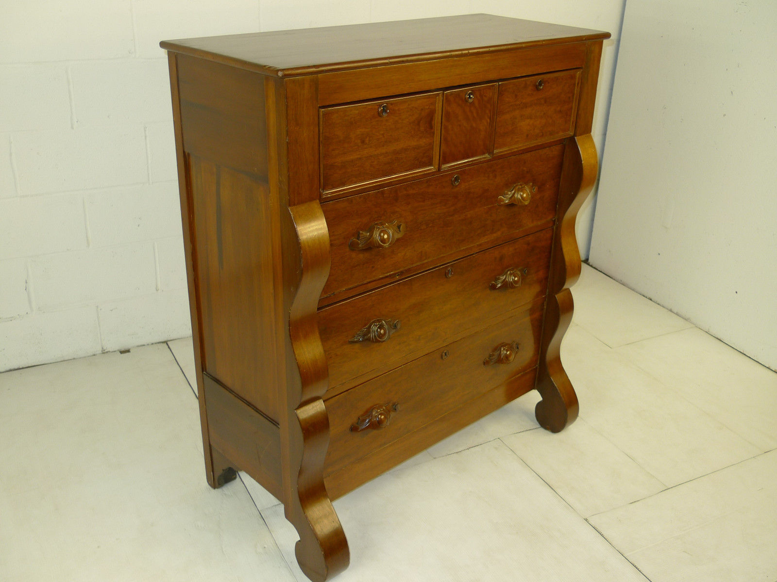 American Victorian Period Figured Cherry Dresser Antique