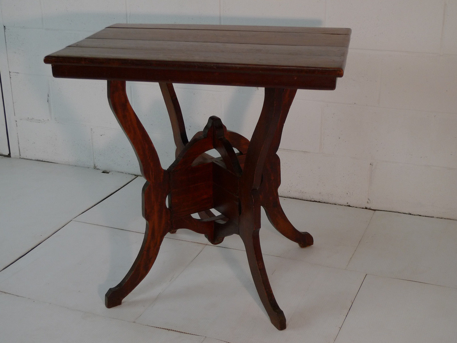 Victorian Cherry Rustic Scrolled Plant Stand Lamp Table Antique