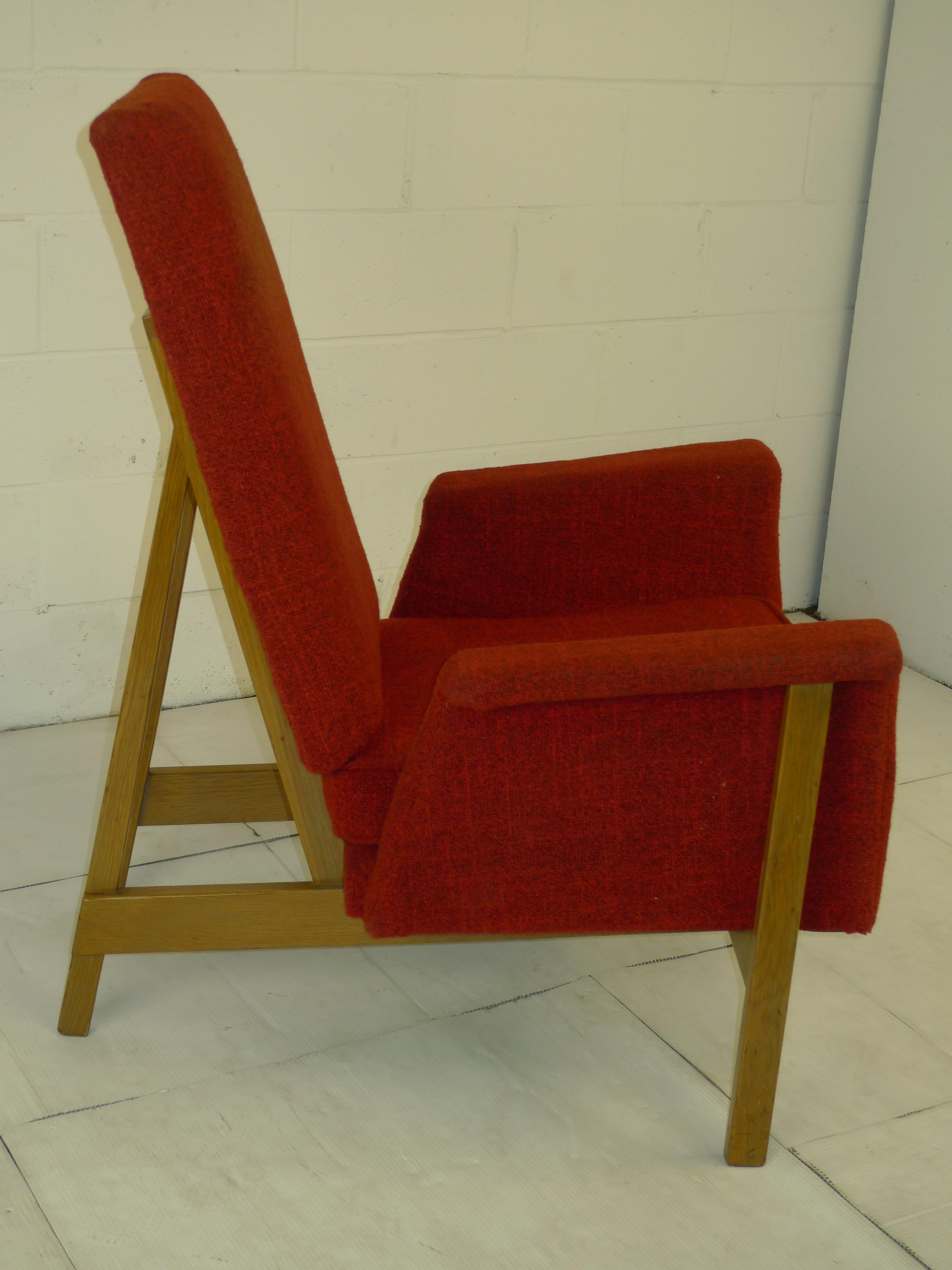 Designer Furniture Sale: Mid Century Modern Lounge Chair Oak Frame Ca.1964 Original