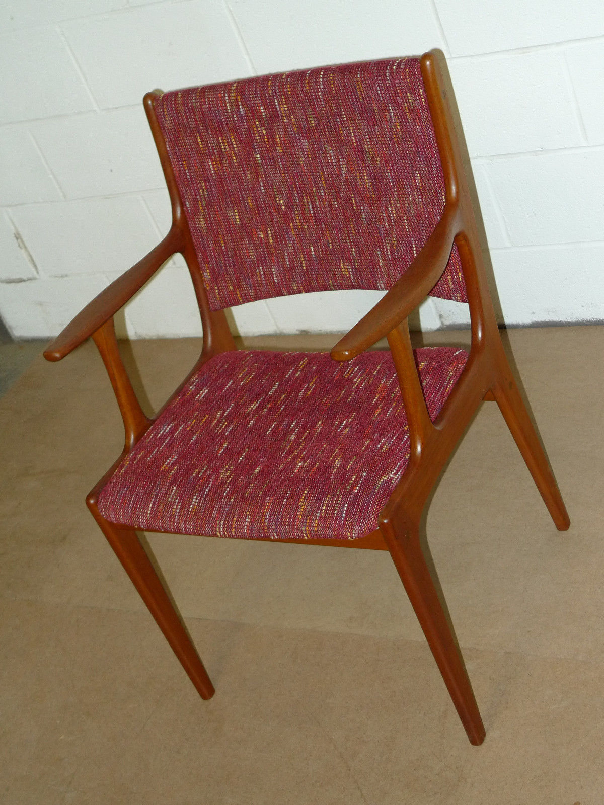 Danish teak mid century modern arm chair modern for Mid century modern upholstered chair