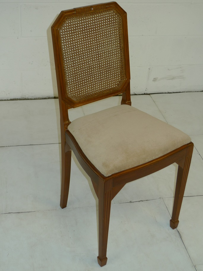 Antique Wooden Netted Chair with Beige Seat Cover