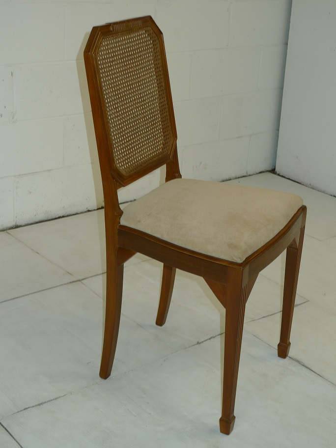 antique wooden netted chair with beige seat cover 500