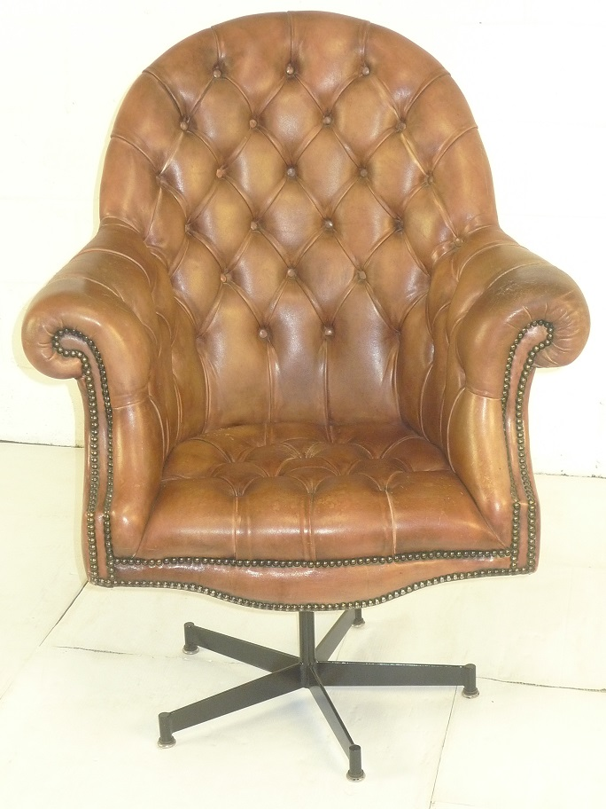 Brown Leather Revolving Chair