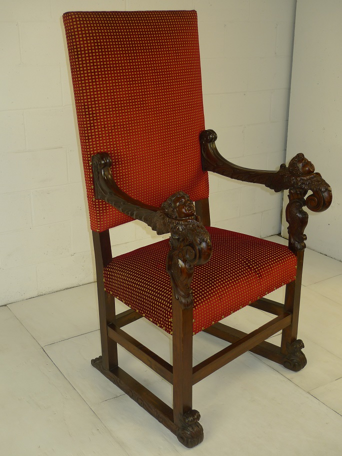 Antique Wooden Chair Red & Gold Color