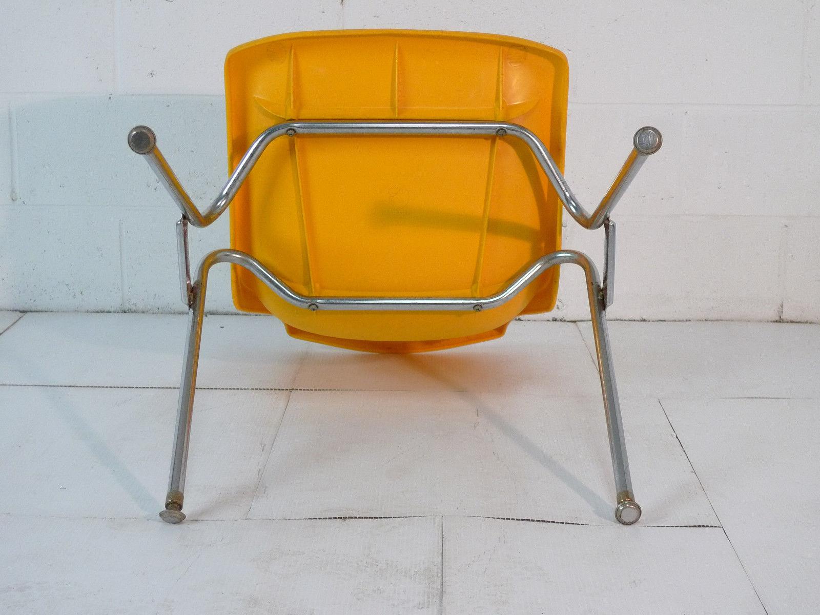 Plastic mid century modern eames era 60 s chair chrome yellow plastic
