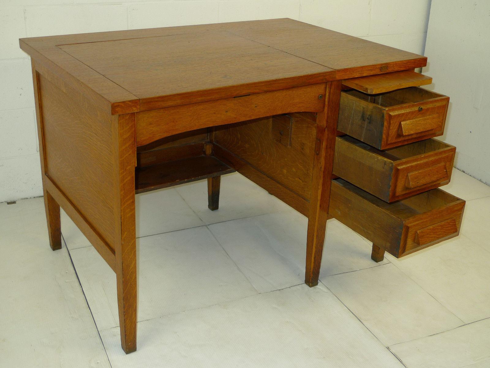 Mission Arts Crafts Oak Secretary Single Pedestal Antique Desk