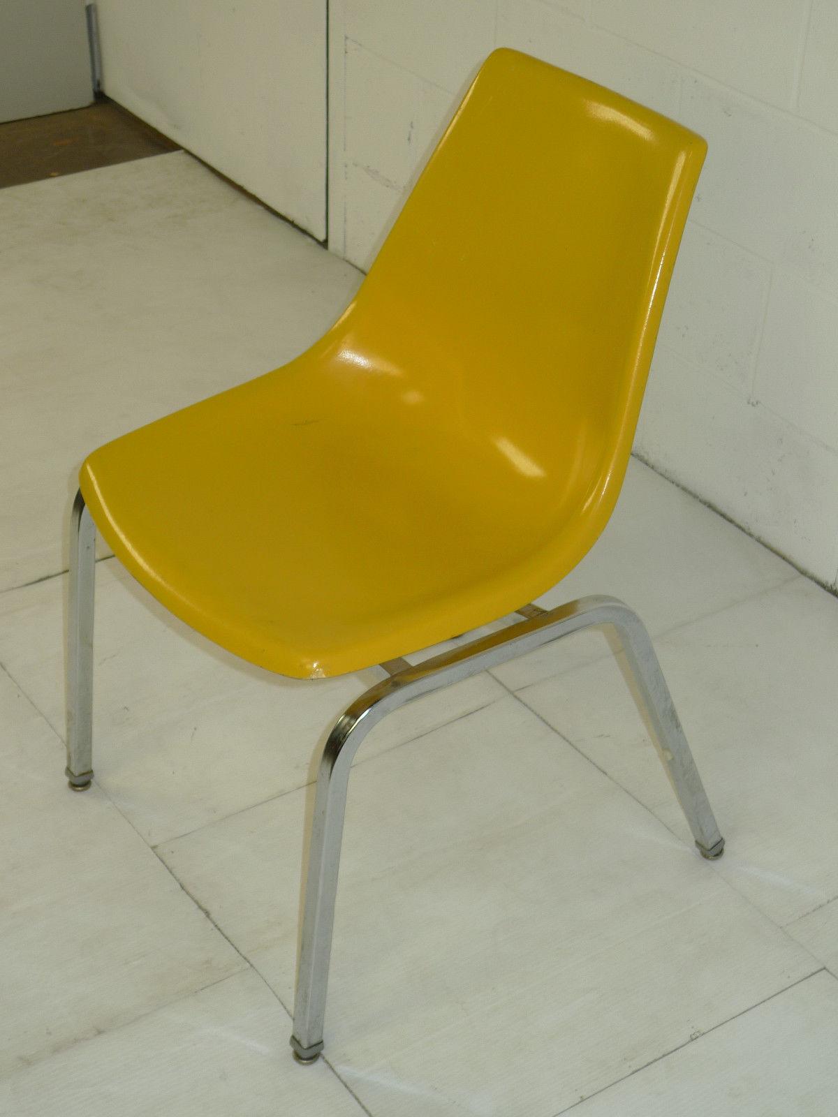light yellow fiberglass u0026 chromed space age eames era chairs