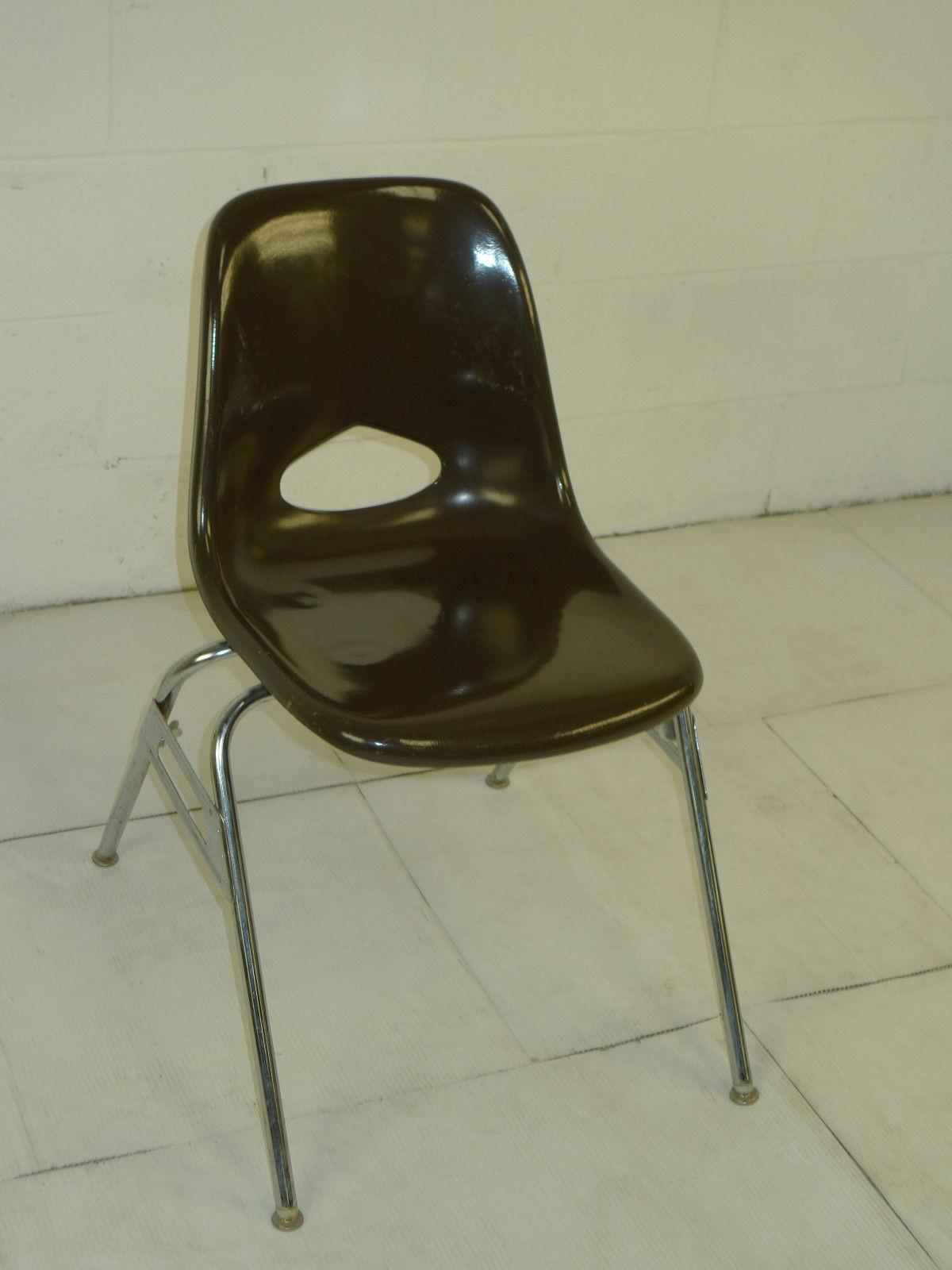 Brown Mid Century Modern Eames Era Krueger Fiberglass Chairs