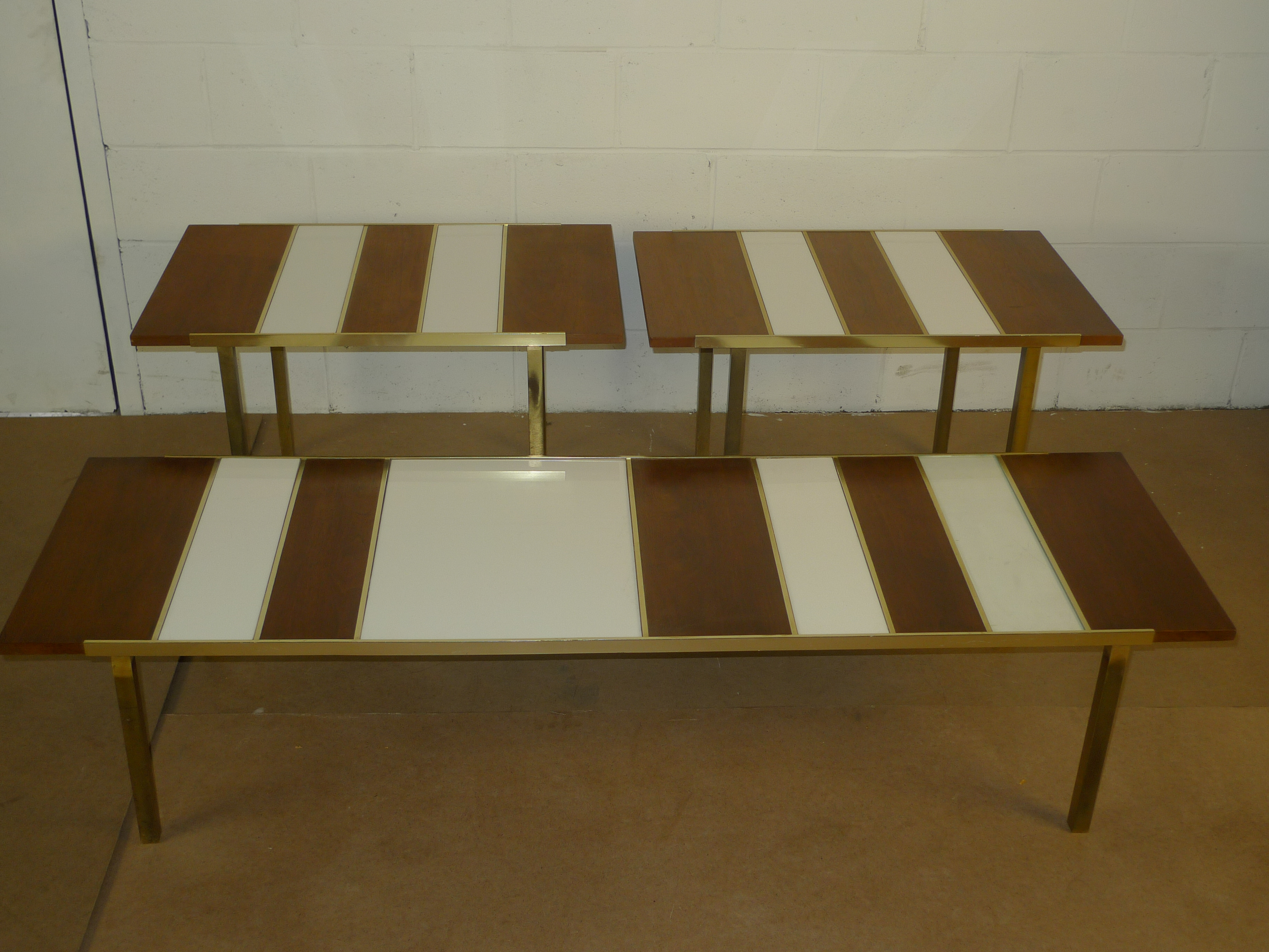 Mid-Century Modern - Walnut, White Glass Brass Coffee Table