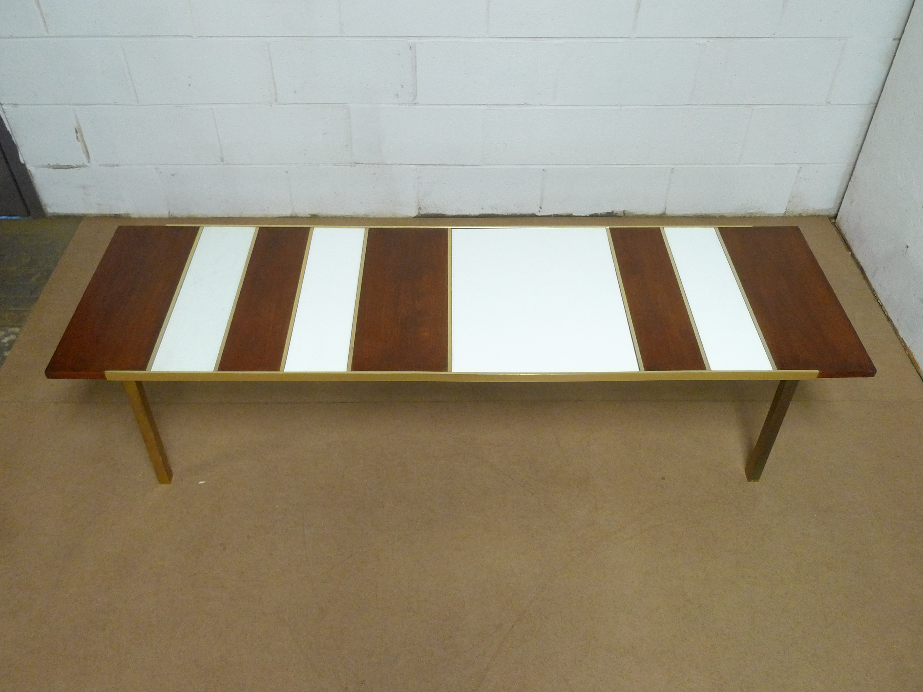 Mid-Century Modern - Walnut, White Glass Brass Coffee Table - Click Image to Close