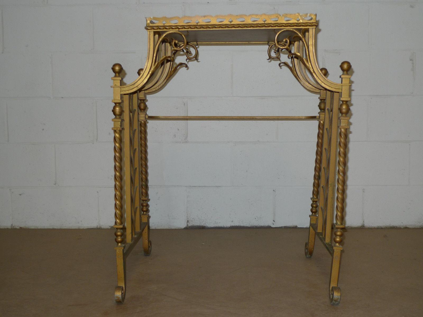 Art deco period gold iron side table art deco period for Art deco period