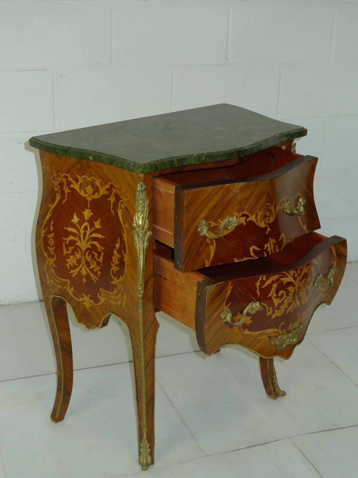 Louis XV Bombe Marquetry Rosewood Commode Ormolu Chests & Trunks