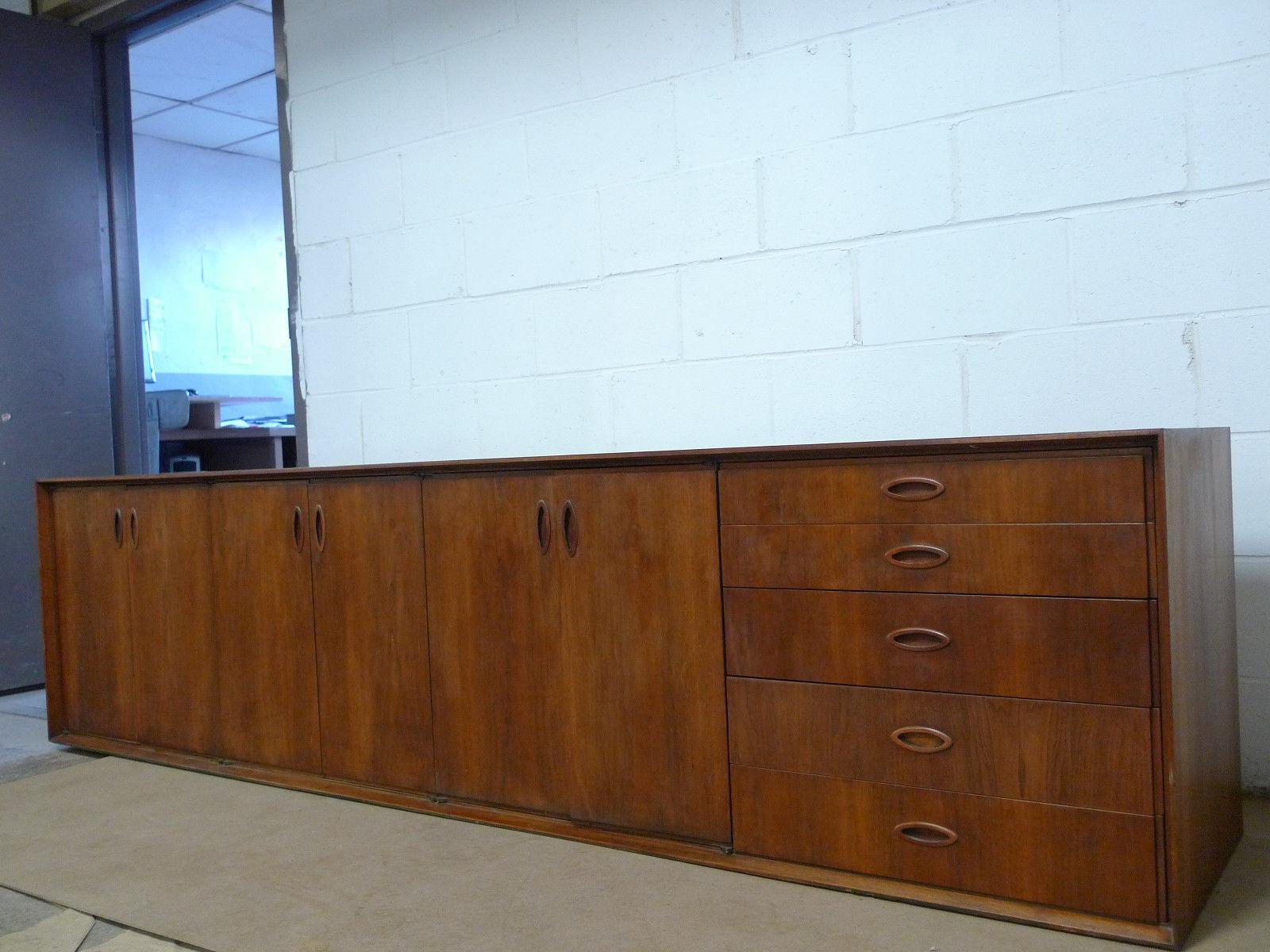 Designer Furniture Sale: Mid Century Modern Walnut Credenza Cabinet Sideboard Mid