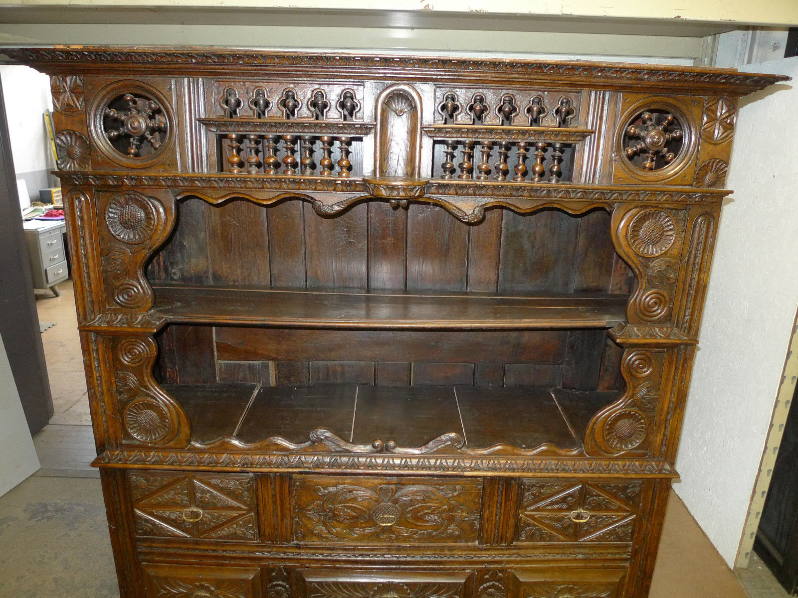 Renaissance Carved Walnut Hutch Breakfront 1600's Cabinet